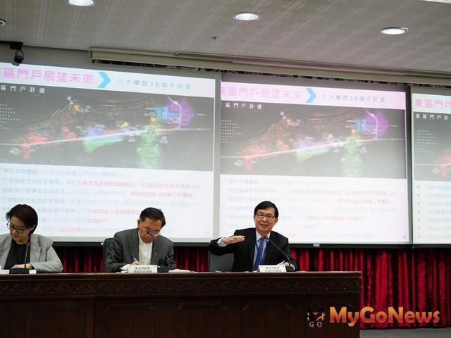 台北市三位副市長彭振聲、蔡炳坤、黃珊珊2020年1月2日共同主持「台北新象2.0!」記者會(圖:台北市政府)