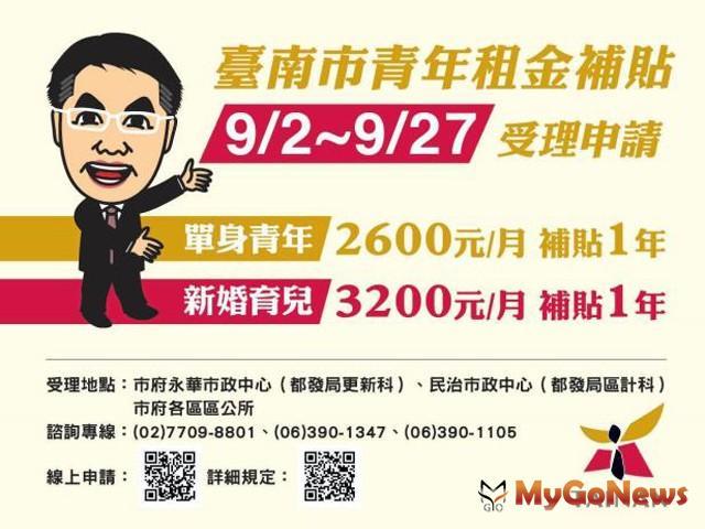 台南市單身青年及鼓勵婚育家庭租金補貼自9月2日起受理申請(圖:台南市政府)