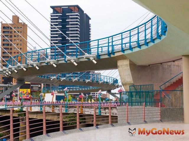 桃園建設 南崁溪印象大橋完工啟用,串連22公里親水綠帶水岸新地標(圖:桃園市政府)