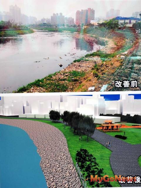 吳志揚表示,透過改善工程,將逐步把南崁溪沿線的三處示範景點河段整理出來。(圖:桃園縣政府)