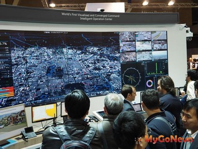華為在2016巴塞羅那全球智慧城市博覽會展示城市智能運營中心(圖:美通社)