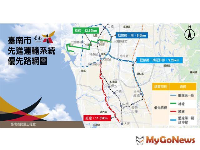 行政院核定台南市先進運輸系統第一期藍線可行性研究報告書(圖:台南市政府)