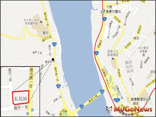 八里區龍形市場(市一)用地係位於八里區龍米路與龍形一路路口西北側,目前為臨時平面停車場使用
