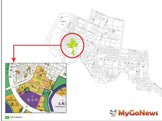 海新市鎮第1期發展區第1、2開發區原港平營區土地示意圖