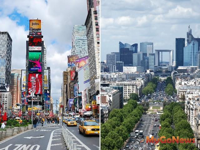 巴黎香榭麗舍大道(右)、紐約第五大道(左)都是城市中軸線,是交通重要幹道,路段旁的商用不動產房價/租金都是區域指標。