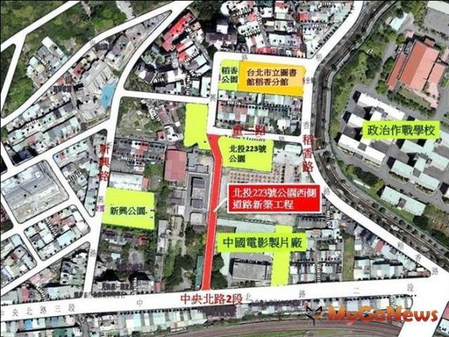 台北市北投影視音產業園區前期建設,223號公園西側道路新築工程2015年發包施工(圖:台北市政府)