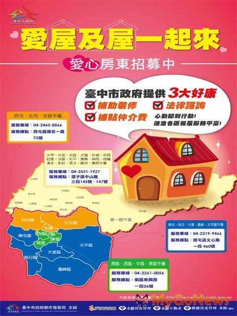 台中市租屋服務平台上線,預計招募300個公益房東媒合出租給中低所得家庭