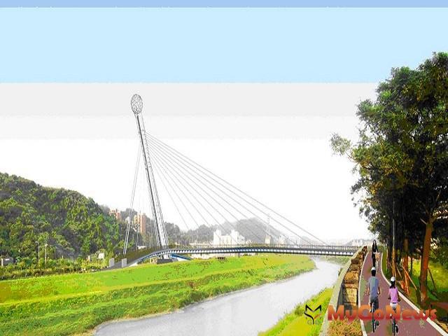 汐止長安橋下游500公尺休憩景觀橋預計於2014年8月20日竣工(圖:新北市政府)