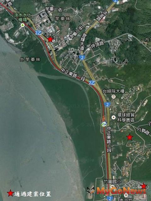 通過的3個建案基地,位於淡水(竹圍地區)都市計畫地區,鄰近淡水紅樹林捷運站附近(圖:新北市政府)