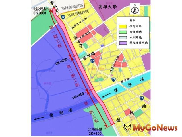 生活圈道路交通系統建設計畫-高雄市濱海聯外道路開闢工程(北段道路0K~2K+100)第一期,將縮短車行距離及時間(圖:營建署) MyGoNews房地產新聞 市場快訊