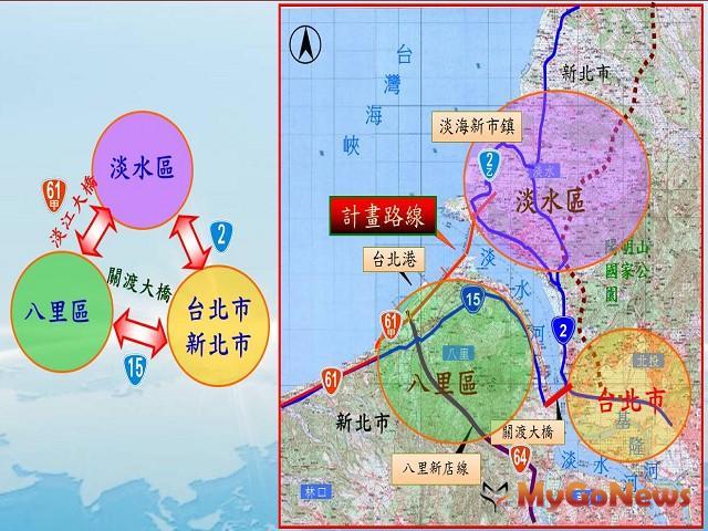 淡江大橋通車後可串起雙北市區、淡水與八里聯絡動線(圖:交通部)