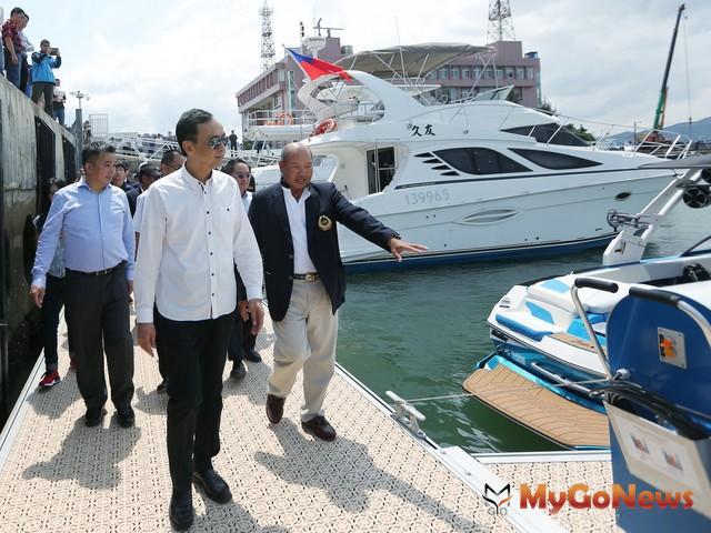 淡水第二漁港第三泊地建設暨遊艇專用碼頭啟用,朱立倫要讓淡水成為台灣最大遊艇基地(圖:新北市政府)