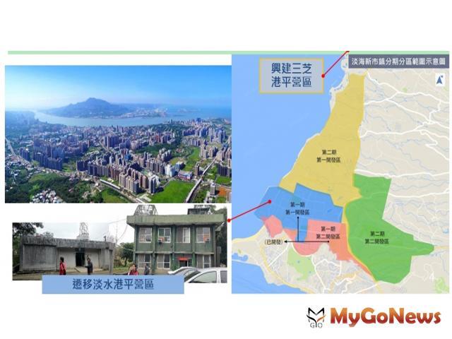 淡海新市鎮港平營區原址與三芝港平營區新址(圖:營建署)
