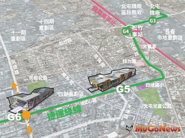 擁三鐵雙十軌道路網優勢,捷運綠線G5、G6 週邊發展可期(圖:台中市政府)