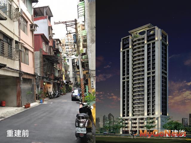 核准危老又一件 新北核准危老重建接二連三,圖為板橋文化段重建前現況(左)與重建後示意圖(右)