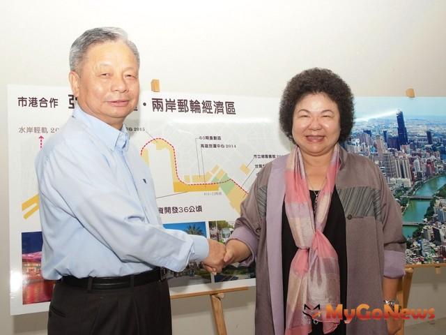高雄市長陳菊2012年9月26日與港務公司董事長蕭丁訓會談。(圖片提供:高雄市政府)