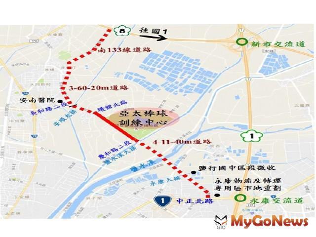貫通安南-永康新環線:國道1號永康交流道聯絡道工程(南133線)(圖:營建署)
