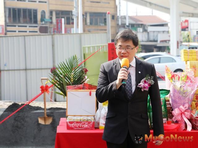 台南代理市長李孟諺:京城銀行新化分行重建動土,預計2018年7月竣工(圖:台南市政府)