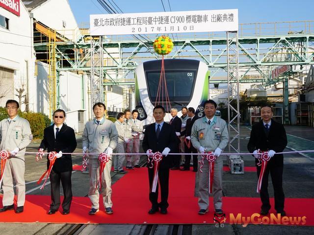台中捷運綠線電聯車原型車10日在日本舉行出廠典禮(圖:台北市政府)
