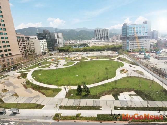 內科2.0第一棒,大港墘公園完工,內科誕生新綠洲,紓壓放鬆好所在(圖:台北市政府)